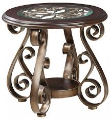 ay dark cherry round glass top end table main image