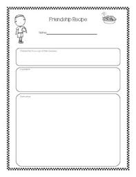 friendship recipe template. Friendship Recipe Teaching Resources Teachers Pay Teachers