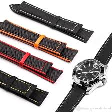 nylon carvas fabric watchband leather watchstrap for omega watch 20mm 22mm man strap calf leather black orange red yellow with tools watch band replacement