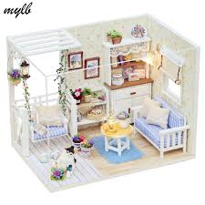 dusting wood furniture. mylb doll furniture diy miniature dust cover 3d wooden miniaturas dollhouse toys for children birthday gifts dusting wood