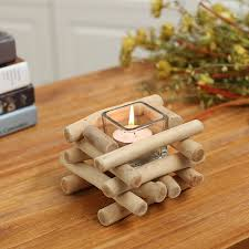 wooden candle holder with glass cup