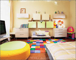 Kids Living Room Bedroom Creative Kids Room With Colorful Rug And Yellow Ottoman