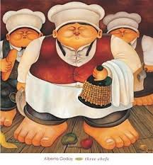 Three Chefs' by Alberto Godoy - High Quality Print on Canvas (image size  66.04 cm W x 66.04 cm H x 5 cm D): Amazon.co.uk: Kitchen & Home