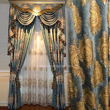 exquisite fl pattern blue chenille thick insulated blackout curtain valance is not included