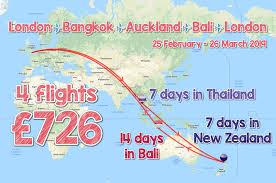 4 flights to 3 amazing destionations bangkok auckland bali round trip