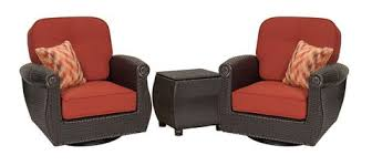 seating breckenridge 3 piece patio furniture set 2 swivel rockers brick red and side table 1 large v=
