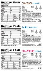 shakeology supplement facts idealshake nutrition label