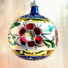 Vintage Hand Painted Poland Blown Glass Christmas Tree Ornament