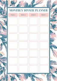 Monthly Dinner Planner Free Monthly Meal Planning Template Bake Play Smile