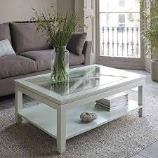 square glass white wooden coffee table
