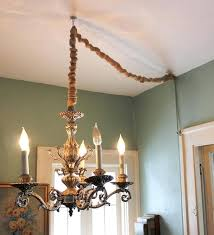 install chandelier hang a chandelier without by converting to a lamp and then covering the cord