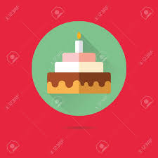 Flat Birthday Cake Designs Birthday Cake With Candle Flat Design Long Shadow Vector Icon