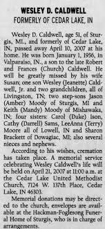 Obituary for WESLEY D. CALDWELL, 1956-2007 (Aged 51) - Newspapers.com