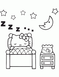 Simple free hello kitty coloring page to print and color. Hello Kitty Sleeping In Bedroom Coloring Page Family Coloring Pages Hello Kitty Tattoos Hello Kitty