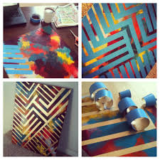 DIY Paint Project >> all it takes is a blank canvas, gold spray paint,  tape, acrylic paints, a brush, and some patience to create this geometric  pa