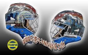 airbrushing painted eddymask vancouver goalie mask art by eyecandyair