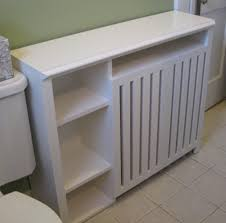 Radiator Enclosure Cabinet: Custom built for a small bathroom, this cover  provides ample shelf