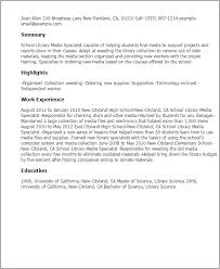 resume templates school library media specialist media resume template