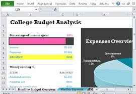 Student College Budget With Chart Template For Excel 2013
