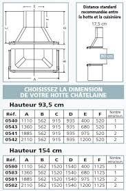 Hotte Châtelaine 1885cm Hauteur 935cm 2x800m3h Inox Godin Réf 0541