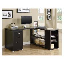 L Shaped Black High Gloss Finished Solid Wood Computer Desk With Bookcase  And Silver Metal Feet