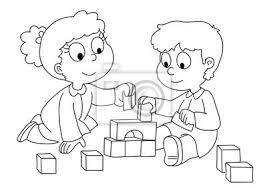 Bambini Che Giocano Con I Cubetti Bianco E Nero Manifesti Da Muro