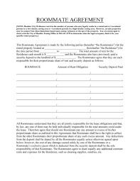 Roommate Agreement Contracts Roommate Agreement Template Cyberuse