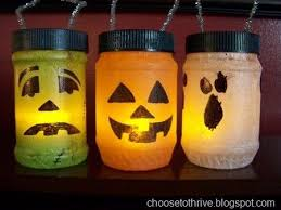Glowstick lanterns from empty peanut butter jars! Halloween JarsHalloween  LanternsHomemade ...
