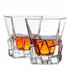 set of 2 double old fashioned whiskey glasses premium lead w crystal glass cups