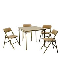 Cosco 5 Piece Beige Mist Folding Table And Chair Set 14551whd Cosco Card Table And Chair Sets