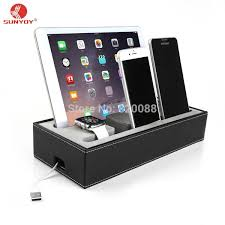 multi phone charging station. Black PU Leather Cell Phone Charging Station ,4 In 1 Multi Device