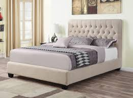 Oatmeal Fabric Upholstered Bed Frame • Caravana Furniture