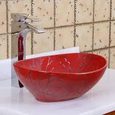 elite 1557 oval red rose porcelain ceramic bathroom vessel sink bathroom sinks stone sink kitchen sink stainless steelsink bathroom sink glass sink