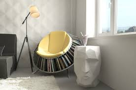 magnificent comfortable chairs for reading with book rack underneath  combined with cool table and standing lamp