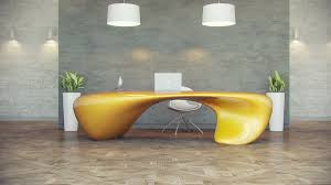 futuristic office desk. Top Light Yellow Futuristic Office Desk And Interior Design With Plants Hanging Lamp