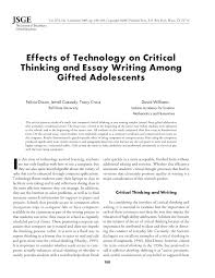 Essay About Critical Thinking Pdf Effects Of Technology On Critical Thinking And Essay