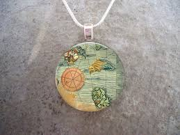 Antique Ocean Map Illustration Jewelry Nautical Chart Pendant Necklace 1 Inch Diameter Domed Glass Free Shipping Sku Map02