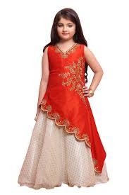 Designer Gowns For Girls Silk Satin And Net Girls Wear Designer Gown In Orange With Fancy Work