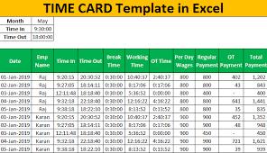 Timecard In Excel Excel Time Card Template Step By Guide To Create Time Card