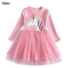 <b>VIKITA</b> Girls Unicorn Vestidos Girls Long Sleeve Dress Kids Party ...