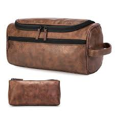 mens leather toiletry bag large shaving hygiene travel organizer case waterproof for