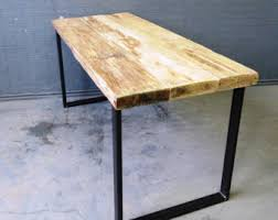 custom wood office furniture. Industrial Chic Reclaimed Custom Desk Table - Bar Cafe Office Restaurant Steel Solid Wood Metal Hand Furniture