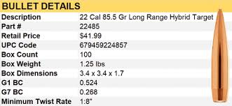 22 Creedmoor Ballistics Chart New 22 Caliber 85 5 Grain Long Range Hybrid Target Bullets
