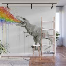 t rex dinosaur vomits rainbow wall