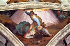 the sistine chapel ceiling frescos after restoration david and goliath painting michelangelo buonarroti the sistine