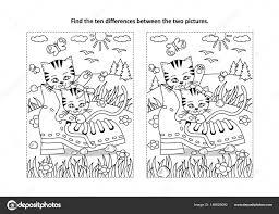 Zoek Tien Verschillen Afbeeldingspuzzel Kleurplaat Met Twee Leuke