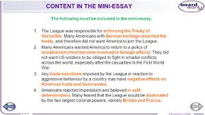 igcse history to what extent was the league of nations a success content in the mini essay