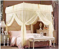 Beige Lace Luxury Four Corner Square Princess Bed Canopy (Full/Queen)
