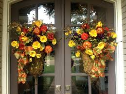 Outdoor Fall Wreaths Front Door Decorations Thanksgiving Moss Baskets With Christmas For