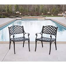aluminum patio chairs. WE Furniture Cast Aluminum Patio Chairs (Set Of 2), Antique Bronze Aluminum Patio Chairs